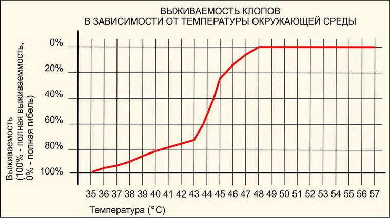 Рисунок 1. График выживаемости клопов в зависимости от температуры.