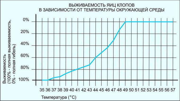 Рисунок 3. График выживаемости яиц клопов в зависимости от температуры.